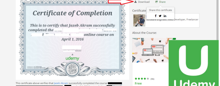 how to get udemy Certificate