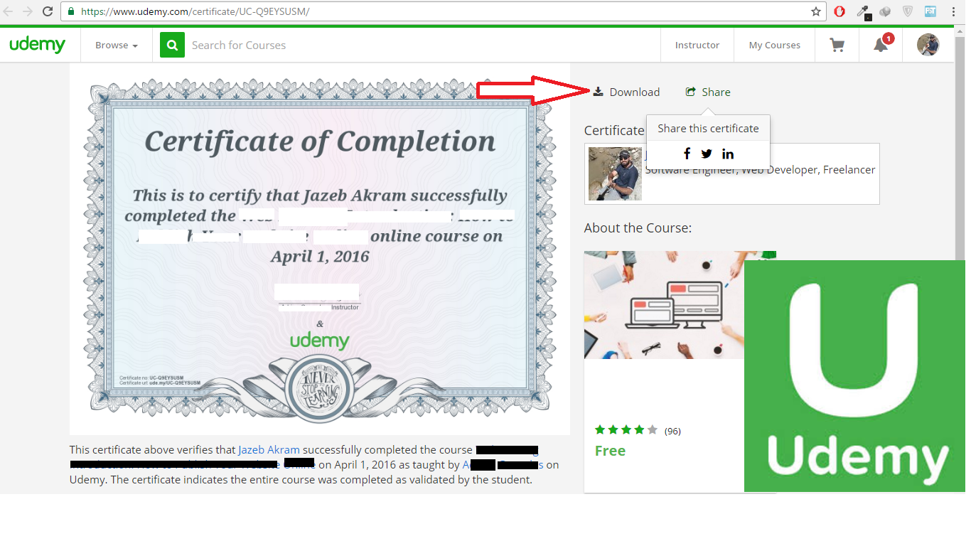 how to get udemy certificate on completion